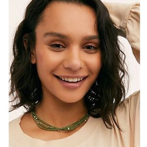 NEW Free People Serefina Layer Necklace Green Gold